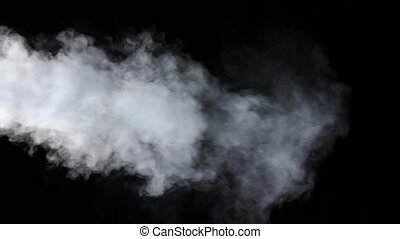 White smoke with large flow on isolated black studio...