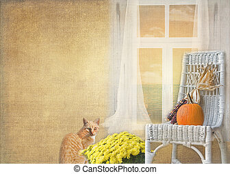 Autumn Home - Pet tabby cat with mums and wicker chair.