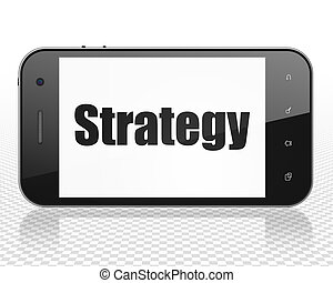 Finance concept: Smartphone with Strategy on display