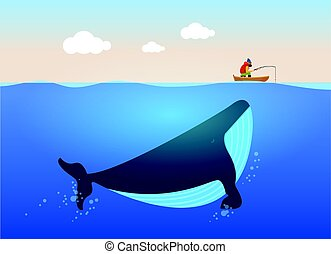Vector illustration of fisherman and huge whale under water....