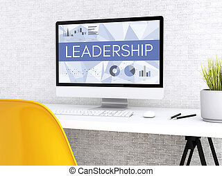3d Computer with word LEADERSHIP.