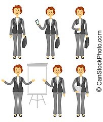 Female manager character or business woman set. Different poses isolated on white background. Woman in trousers. Cartoon flat style illustration