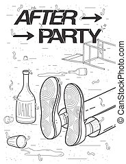 Afterparty placard. Drunk, tired guy asleep, resting of drinking. Funny party poster. Contour black and white illustration.