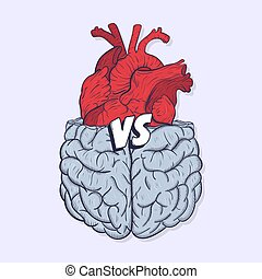 Heart vs brain. Concept of mind against love fight,...