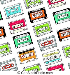 Seamless pattern, plastic cassette, audio tape with different music.
