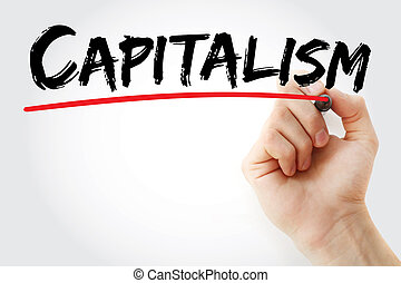 Hand writing Capitalism with marker, concept background