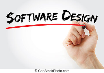 Hand writing software design with marker, concept background