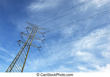 High voltage post. - High-voltage tower sky background.