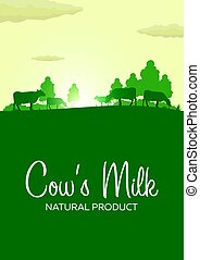 Poster Cow's Milk natural product. Rural landscape with mill...