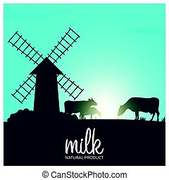 Milk natural product. Rural landscape with mill and cows....