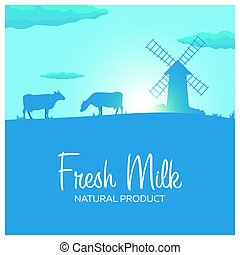 Fresh Milk natural product. Rural landscape with mill and...