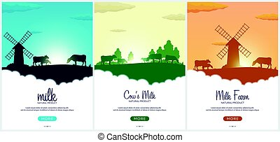 Set of Poster Milk natural product. Rural landscape with...