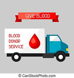 Mobile blood transfusion station vehicle. Medical and...