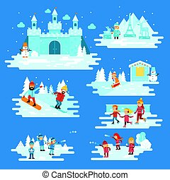 Infographic elements winter entertainments, people characters, children playing snowballs, snowman, snowboarder, skiing, ice skating, castle. Winter fairytale vector flat illustration