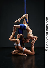 Two sexy girls posing gracefully on aerial silks - Young...