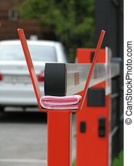 White barrier - The white locked barrier with red metallic...