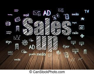 Marketing concept: Sales Up in grunge dark room