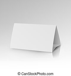 White Paper Stand Table Tag Flyer Vector Stationery...