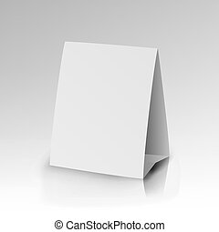 White Paper Stand Table Tag Flyer Vector. - White Paper...