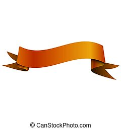 Realistic shiny orange ribbon isolated on white background. With space for text. Vector illustration