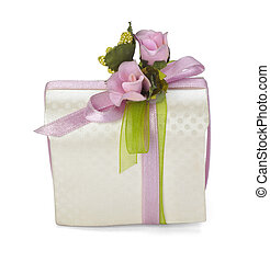 present box gift wedding - close up of a present box on...