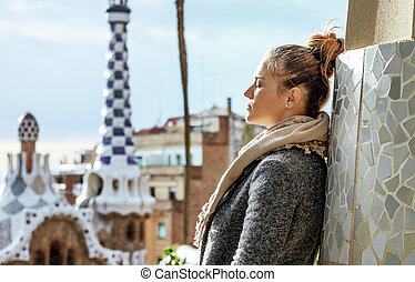 traveller woman at Guell Park in Barcelona, Spain in winter...