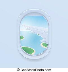 airplane window. cartoon flat illustration. Porthole, view...