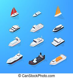 Set of different ship, motorboat, sailing, yacht, passenger,...