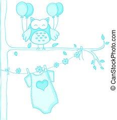 azul, búho, ducha, bebé
