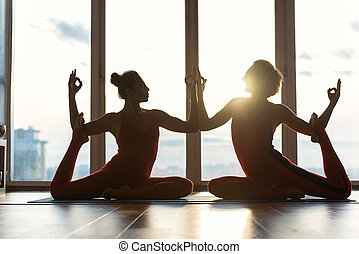 Calm women doing athletic exercise - Professional two female...