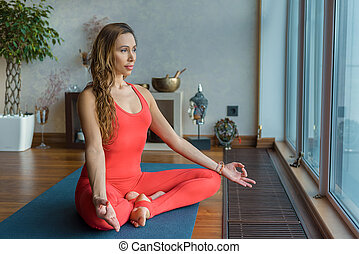 Sensual girl relaxing during meditation - Portrait of...