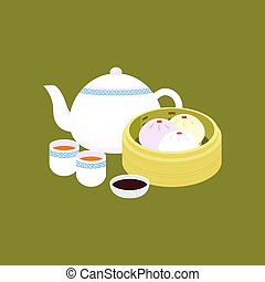Chinese dim sum steamed bun in basket with porcelain teapot...