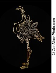 Graphic demonic flamingo - Graphic crystallizing demonic...