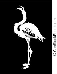 Graphic demonic flamingo silhouette. Shabby bird with open...