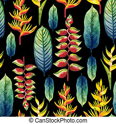 Watercolor heliconia pattern - Watercolor heliconia seamless...