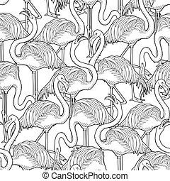 Cute graphic flamingo pattern - Cute graphic flamingo in the...