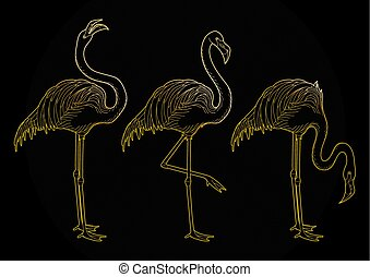 Cute graphic flamingo in the side view. Pretty exotic birds...