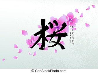 Graphic kanji hieroglyph - sakura.