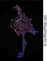 Graphic demonic flamingo - Graphic crystallizing demonic...