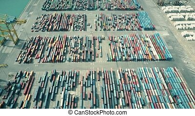 Aerial shot of big port container yard. Export, import,...
