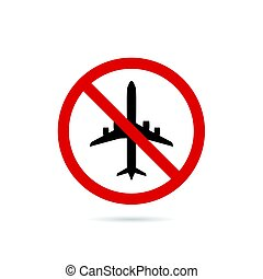 airplane sign in red color illustration