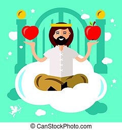 Vector Paradise Concept. God in heaven. Flat style colorful Cartoon illustration.