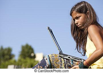 Modern student little girl