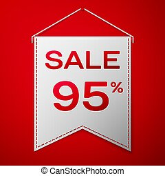 Grey pennant with inscription sale ninety five percent Discounts over a red background. Sale concept for shops store market, web and other commerce. Vector illustration.