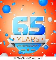 Sixty five years anniversary celebration on orange...