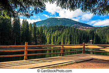 wooden pier on mountain Lake in Synevir National Park - pier...