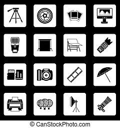 Photo studio icons set squares vector - Photo studio icons...