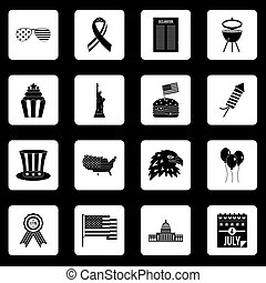 Independence day flag icons set squares vector -...