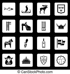 Sweden travel icons set squares vector