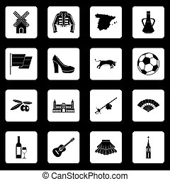 Spain travel icons set squares vector